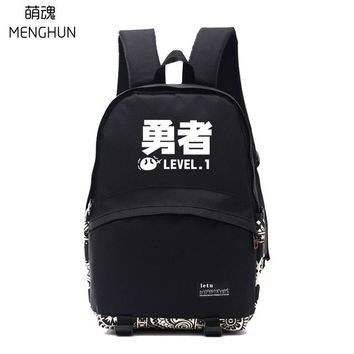 Anime Backpack School Lovely new design kawaii cute Comic Game fans backpack black nylon ACG Words printing backpack school bags lovely words backpack nb269 AT_60_4