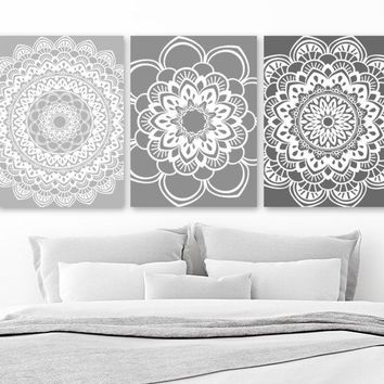 Mandala Wall Art, Gray BATHROOM Wall Decor, CANVAS or Print, Gray Ombre Mandala Decor, Medallion Wall Art, Gray Bedroom Wall Decor Set of 3