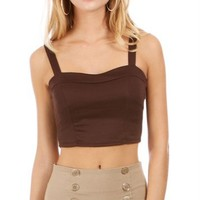 Brown Solid Corset Cropped Top