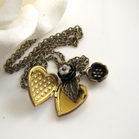 Heart Locket Necklace. Autumn Fall Nature Woodlands Vintage Inspired Raw Brass Heart Locket. Leaf. Necklace