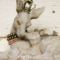 Deer Statue, Deer Figurine, Doe and Fawn, French Nordic, Shabby Cottage, Farmhouse Chic, Nursery Decor, Baby Shower Gift, Mother and Child