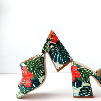 Hector Green Multi Peep-Toe Mules
