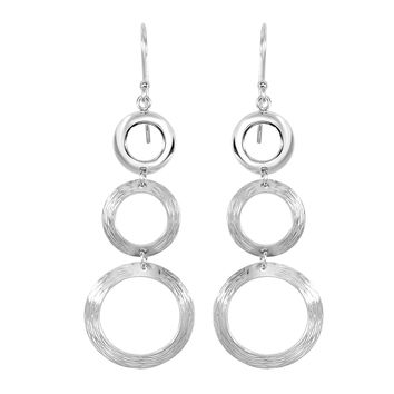 Silver with Rhodium Finish 20X62.0mm 3-Graduated(1 Shiny+2 Diamond Cut Brush Finish )Open Circle Type Drop Earring with J Hook