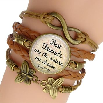 Weave Leather Bracelet Best Friends Are The Sisters We Choose Quote Jewelry Glass Cabochon Women Fashion Bracelet Bangle