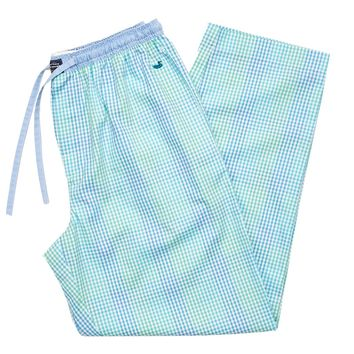 Savannah Gingham Lounge Pant in Antigua Blue and Teal by Southern Marsh
