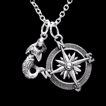 Mermaid Compass Sea Ocean Beach Nautical Animal Nature Gift Charm Necklace