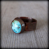 Ring, copper and turquoise hammer texture wide band size 6 1/2 Ready to ship