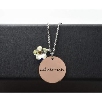 Two-Tone Inspirational Necklace Made With Swarovski By Pink Box
