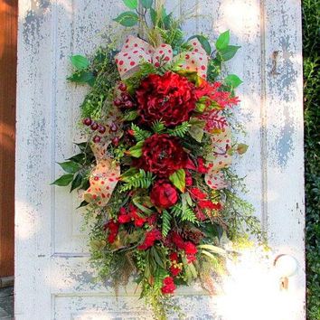 front door swag, spring summer fall, all year wreath, all season wreath, everyday swag, winter wreath, french country cottage, red wreath