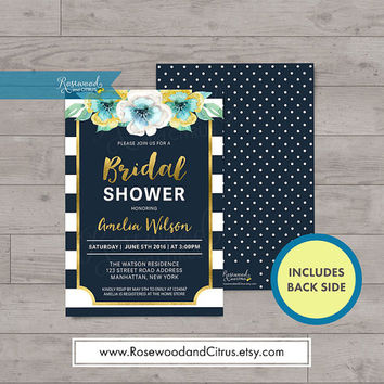 Floral Bridal Shower Invitation, Faux Gold Bridal Shower Printable Invitation, Bridal Brunch Invitation, Blue Bridal Shower Invites, Stripes
