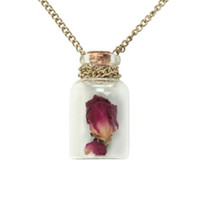 Dried Purple Rose Bottle Necklace