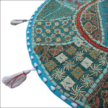 "22"" Patchwork Round Floor Pillow Cushion in sky blue round patchwork Bohemian floor cushion pouf Vintage Indian Foot Stool Bean Bag ottoman"