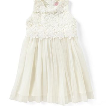 Popatu Little Girls 2-6 Lace/Tulle Tie-Back Dress | Dillards