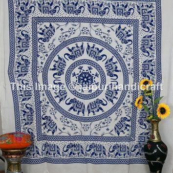 Elephant Mandala Wall Hanging, Queen Size,  Indian Tapestry Elephant Star Mandala, Heavy Cotton Fabric, Psychedelic Tapestry, Beach Sheet