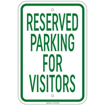 """Heavy Gauge Reserved Parking For Visitors Sign 12"""" x 18"""" Aluminum Signs Retail Store"""