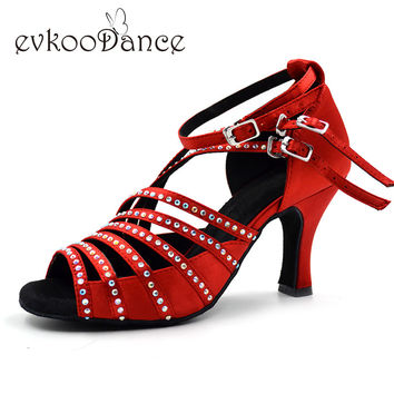 Shoes for latin dance 8cm heel Rhinestones Red Salsa Ballroom Latin Dance Shoes for women NL003