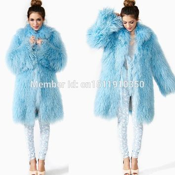 SJ001-01 New Arrival Hot Sale Women Winter Fur Coat/Mongolian Lamb Real Fur Women Coats Russia 2015