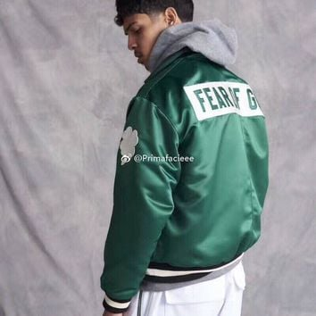 FOG Fear of God Celtics Limited Silk Green Coach Jacket Casual Loose Coat S-XL
