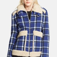 Women's MARC BY MARC JACOBS Faux Fur Trim Check Wool Jacket