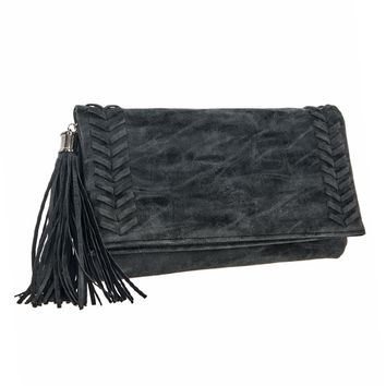 Tassel & Stitch Accent Foldover Clutch
