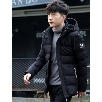 Mens High Collar Puffer Jacket with Removable Hood