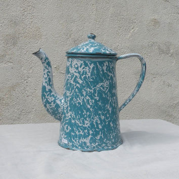 French vintage graniteware enamel coffeepot / vintage enamelware /  blue enamel coffeepot / shabby chic / cottage chic / country home