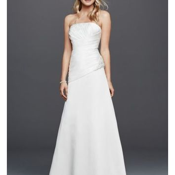 Strapless Ruched Wedding Dress with Lace - Davids Bridal
