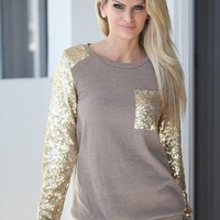 Taupe Sequin Top