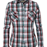 Womens Lightweight Plaid Button Down Shirt with Two Pockets