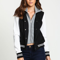 Layered Hooded Terry Baseball Jacket