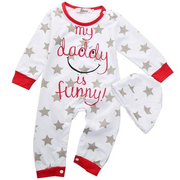 Hot Baby Boy Girl Mum Dad Funny Newborn Infant Long Sleeve O-Neck Print Autumn Romper+Hat Sleepsuit Outfits Letter Print