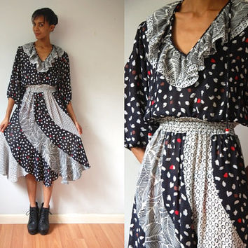 Vtg 70's Susan Freis Mix Print Black White Red Boho Prairie Dress