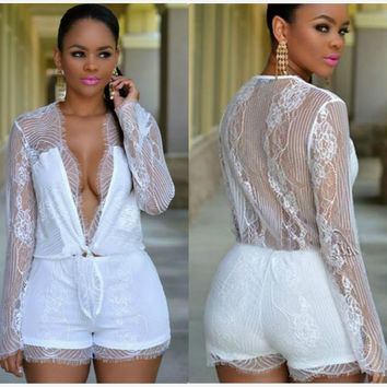 Patchwork Lace Jumpsuit Long Sleeve Deep V Sexy False Eyelashes Romper [6315483393]