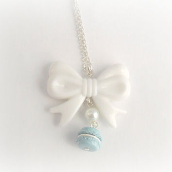Blue Macaron Bow Lolita Necklace, Kitsch Tiny Blue Macaroon, Cute And Kawaii :D