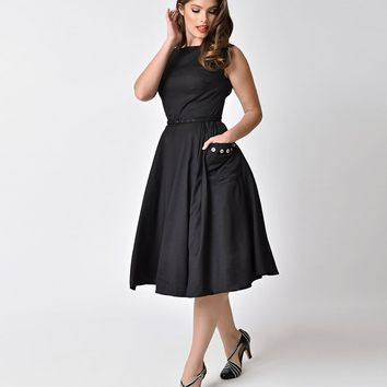 Unique Vintage 1950s Style Black Sleeveless Eden Swing Dress