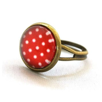 Ring Colourful Cherry Red with White Polka Dots Pop Pattren Jewelry Unique Gifts Kawaii
