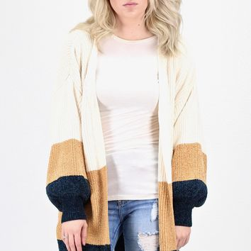 Long Line Oversized Color Block Stripe Cardigan {Mustard}
