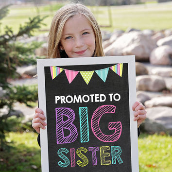 Promoted to Big Sister Chalkboard SIgn, Big Sister Pregnancy Announcement, Big Sister Sign, Pregnancy Photo Prop, Big Sister announcement