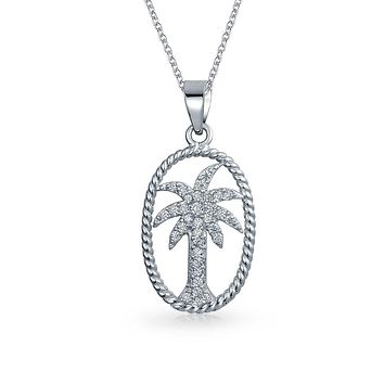 Palm Tree Pendant Oval Frame Cubic Zirconia Necklace Sterling Silver
