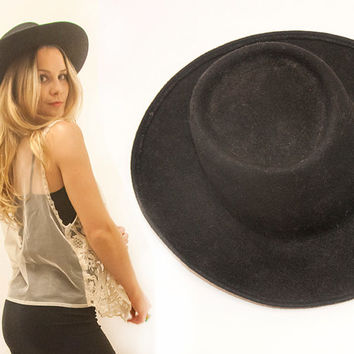 1970s Vintage Black Wool Wide Brimmed Hat  3e6aa97a7a1