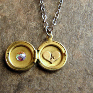 Tiny Personalized Locket Necklace- Brass- Vintage- Mixed Metals- Birthstone Locket- Stamped- Initial- Monogrammed- Heart Charm- Secret