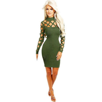 Fashion Womens Choker High Neck Bodycon Hollow Out Dresses Long Sleeve Solid OL Ladies sexyd Mini Dress Female #1215 SM6