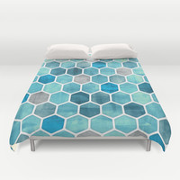 Blue Ink - watercolor hexagon pattern Duvet Cover by Micklyn