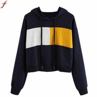 sudaderas de mujer moda 2017 Women Hoodie fashion Sweatshirt Patchwork Crop Top pullover hoodies women Long Sleeve Tops