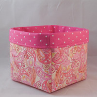 Pretty Pink Paisley Fabric Basket For Storage Or Gift Giving