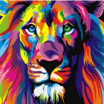 Frameless Painted Lions Pictures Painting By Numbers DIY Digital Oil Painting On Canvas Europe Home Decoration Wall Art