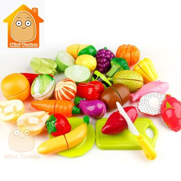 Minitudou Kids Cut Vegetables Toy Cut Fruit Toy Pretand Play Kid's Kitchen Miniature Food Game For Girls And Boys