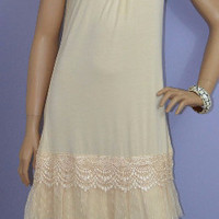 RYU Slip Dress- Romantic Knit Ruffled Tunic Lace-  Cream