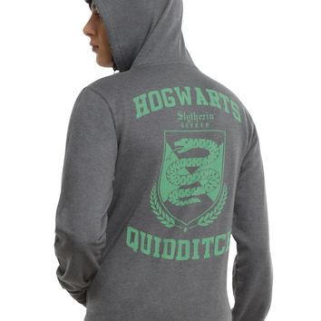 Licensed cool Harry Potter Slytherin Quidditch Crest Grey Hoodie Hoody Sweatshirt Men's XL 2X
