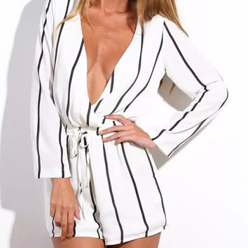 White Stripe V-Neck Long-Sleeve Tie-Waist Romper